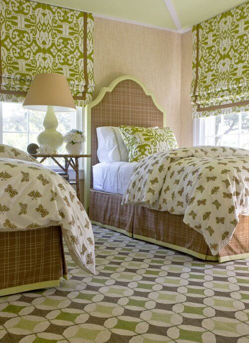 green Ikat drapes