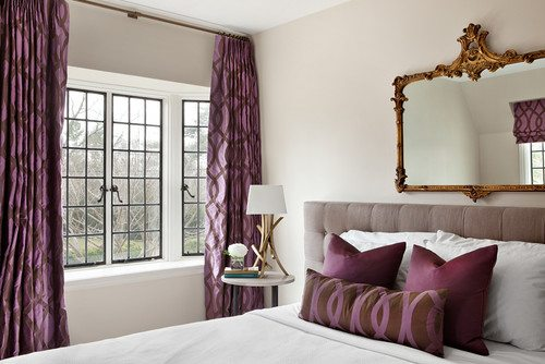 Radiant Orchid and Brown Drapes
