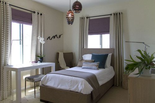 Radiant Orchid Drapes in Bedroom