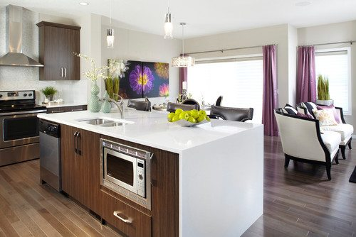 Radiant Orchid Drapes in Kitchen
