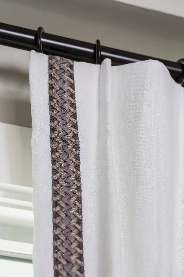 Braided trim on white curtain