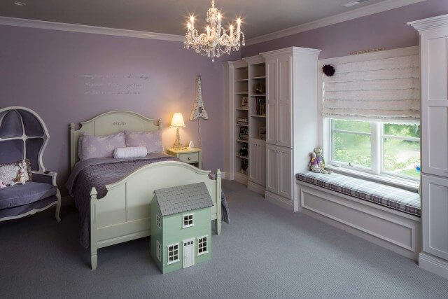 Girls room with ruffled shades