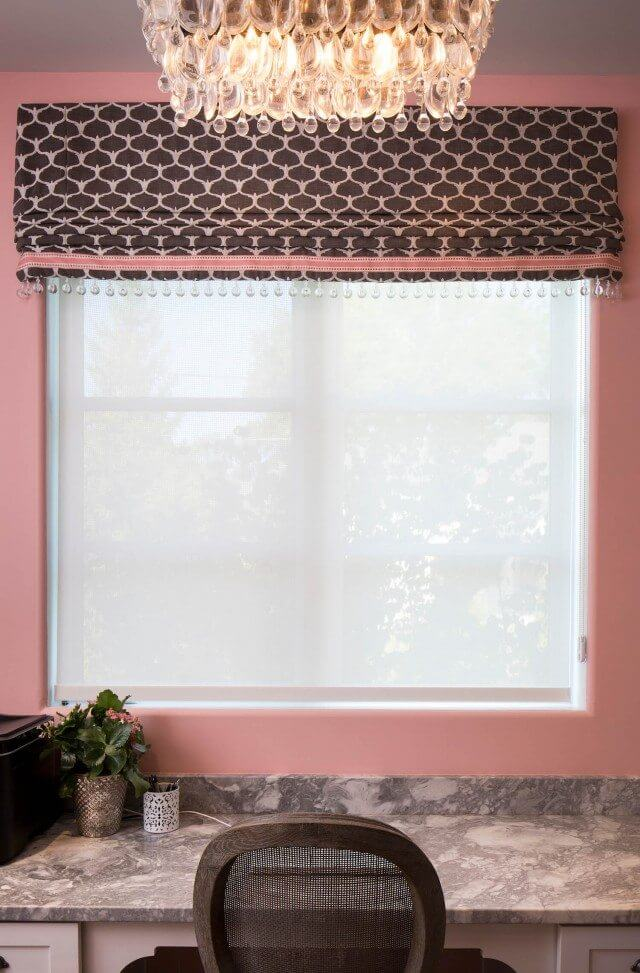 Lattice print valance with trim