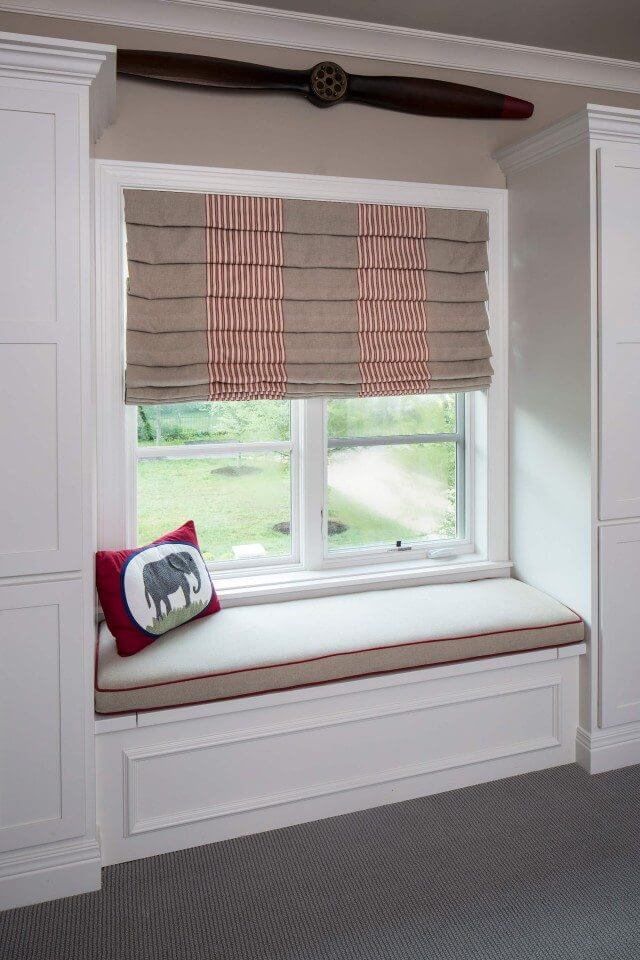 Seamed Roman Shades in reading nook