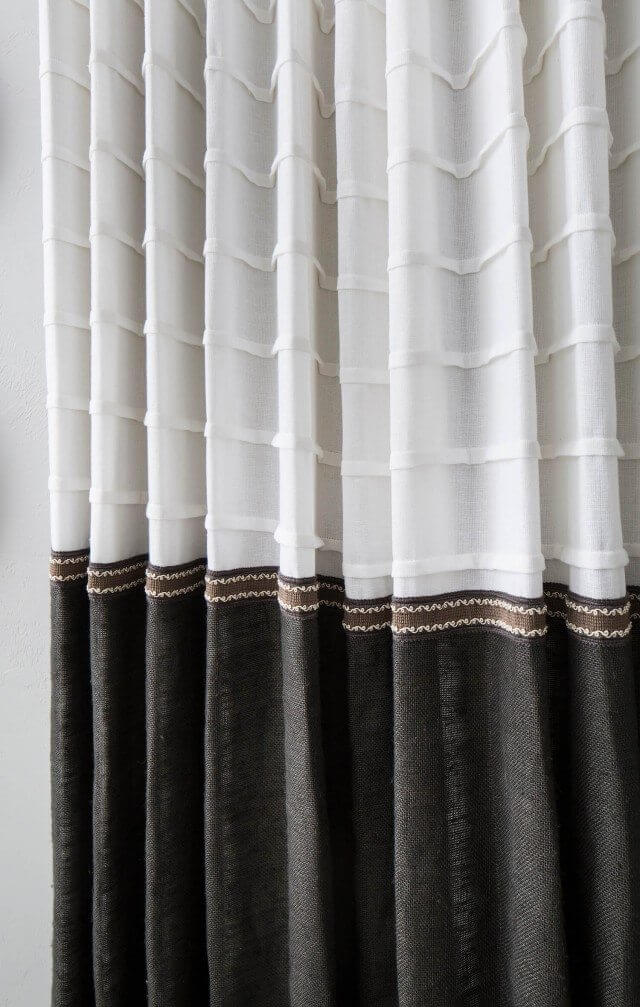 Seamed drapes close up