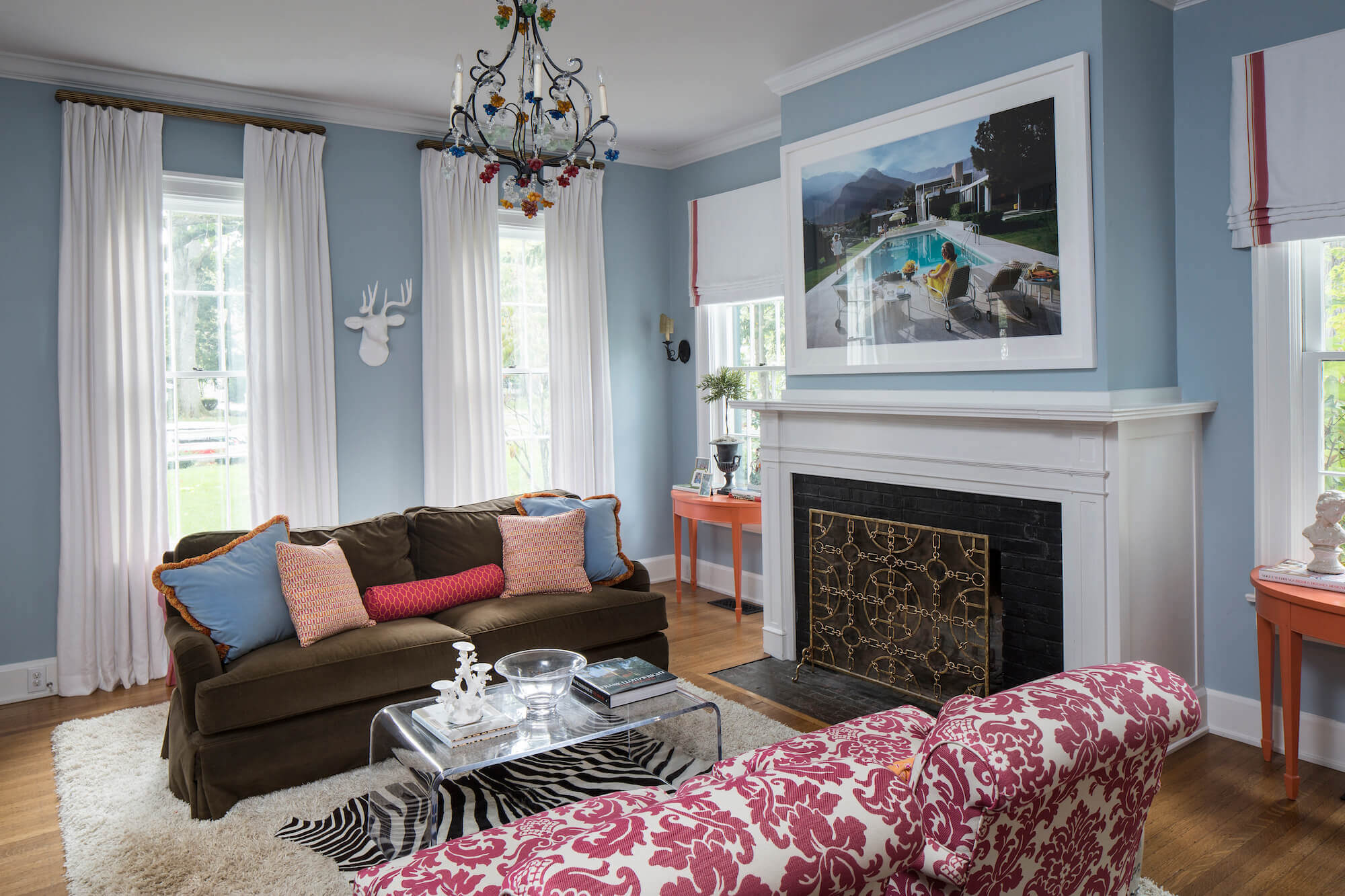 White pleated drapes in living room