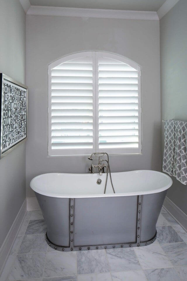 White Hunter Douglas Heritance shutters in Master Bath