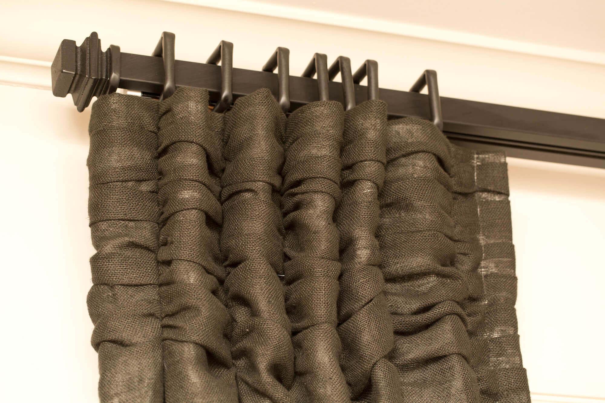 Close Up of Dark Burlap Drapes