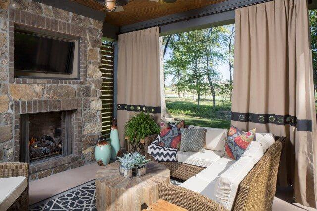 Outdoor Living Space with Drapes