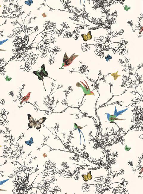 Birds and Butterflies - Schumacher Fabric