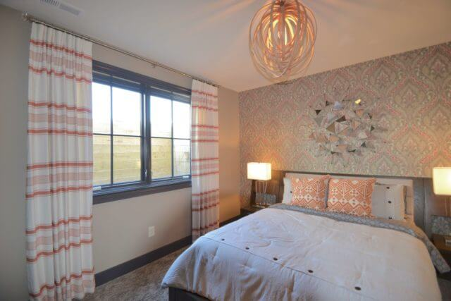 Home-a-Rama 2016 Gradison Home - Guest Bedroom with Mixed Patterns in Orange and Greys