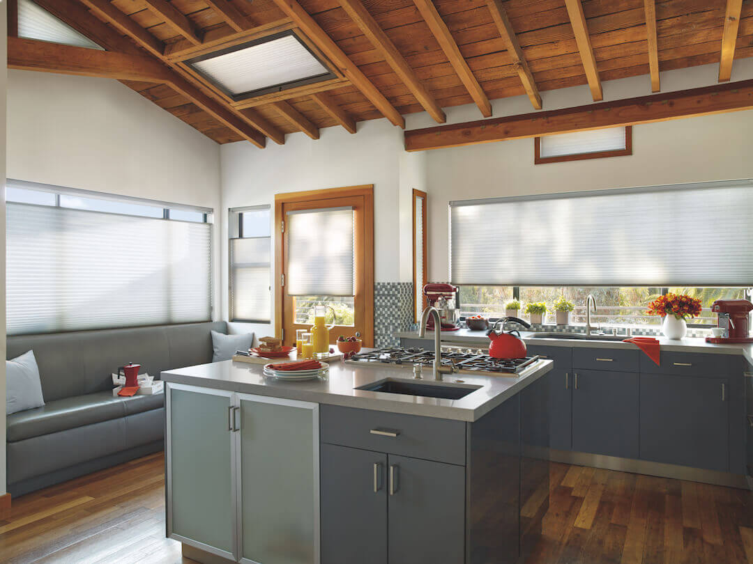 Kitchen with Sky Lift Cellular Shades