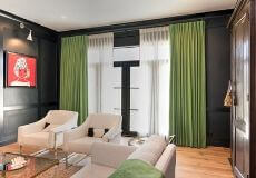 Living Room with Green Drapes